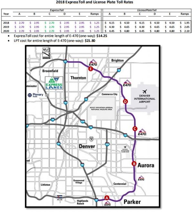 E 470 Toll Map E 470 Toll Adjustment Announcement for 2018 2020   Toll Roads News